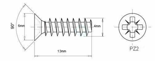 HINGES MOUNTING SCREWS FOR DRAW RUNNER M4 4mm x 13mm EURO SCREWS
