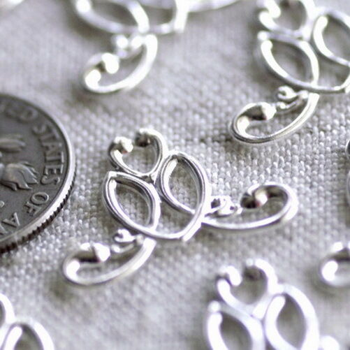 19mm Sterling Silver Plated Filigree Wraps Connectors charm pendant be25s (8pcs)