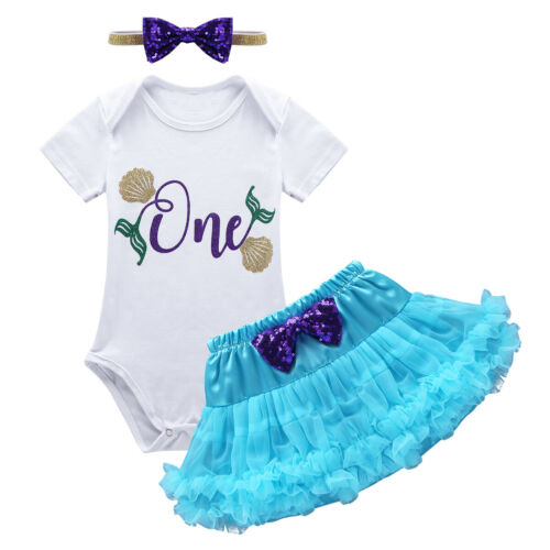 Details about  /2PCS Newborn Baby Girls Birthday Outfit Romper Tops Suspender Skirt Set Clothes