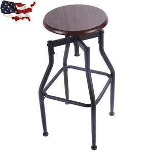 Vintage Bar Stool Metal Design Wood Top Height Adjustable ...