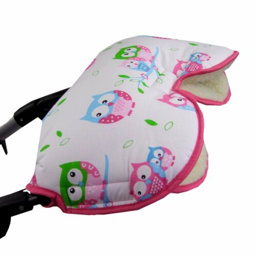 HANDMUFF MUFF Handwärmer Handschuh für Kinderwagen mit LAMMWOLLE EULE EULEN