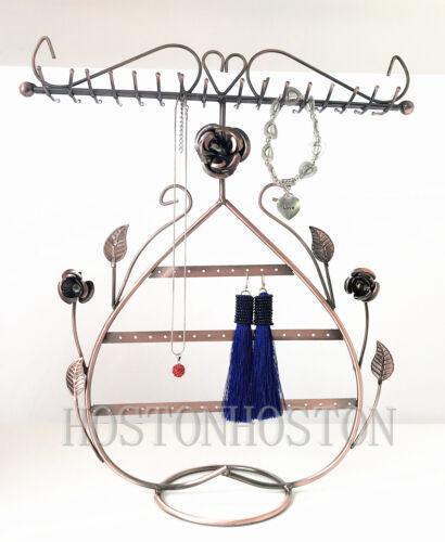 Collar De Joyería Corazón Floral Rosa De Metal Soporte de exhibición del sostenedor del estante Colgador