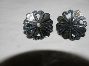 Vintage-Taxco-A-GARCIA-ABALONE-inlay-Earrings-sterling-Silver-HALLMARKED