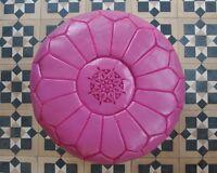 Moroccan Leather Pouffe- Fuchsia- (filled) 55x55x30cm