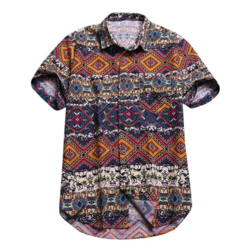 Men/'s Baggy Beach Hawaiian Print Short Sleeve Button Retro T-Shirts Tops Blouses