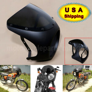 Golss Black /& Clear Motorcycle 7 Headlight Retro Fairing Windshield For Harley Touring Cafe Racer Old School Bobber Touring Dirt bike