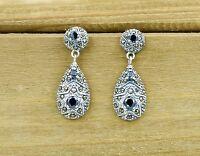 925 Sterling Silver Marcasite Vintage Teardrop Drop Earrings with Black CZ