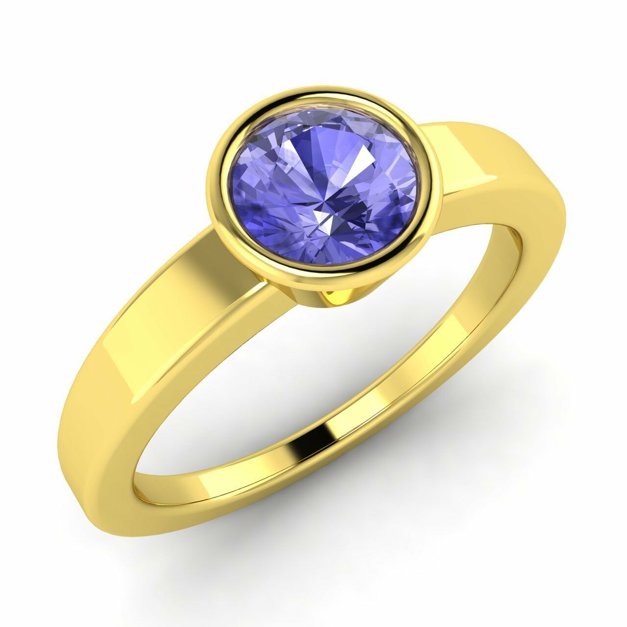 Natural AAA Tanzanite Yellow gold Bezel Set Solitaire Engagement Ring Certified