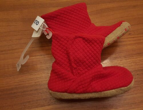 NEW Old Navy Toddler Boys Girls 5-6 7-8 9-10 Quilted Bootie Slippers RED #211218