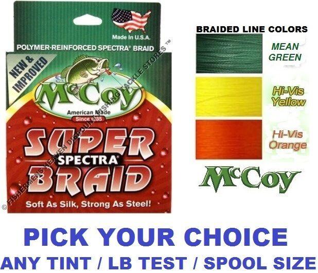 McCoy Fishing Line Braid 150 Yard Bulk 300 YD Spools Any Farbe Braided LB Test