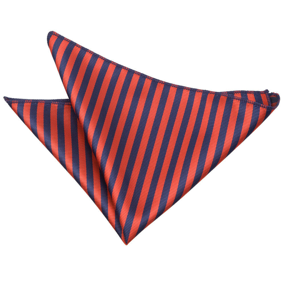 Navy Blue Red Mens Pocket Square Handkerchief Hanky Woven Thin Stripe by DQT