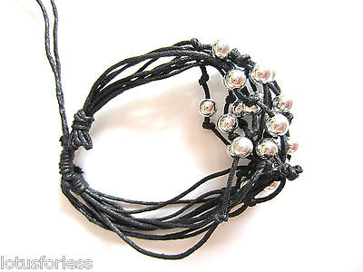 Black Multi Strand Cord Silver tone Beaded Friendship Bracelet