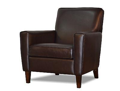 Genuine, High End, Espresso Brown Leather Accent Chair, Club Chair, Cigar  Chair | EBay