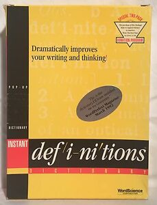 Vintage-Wordscience-INSTANT-DEFINITIONS-5-25-034-Diskettes-Disks-Manual-DOS-IBM-Box