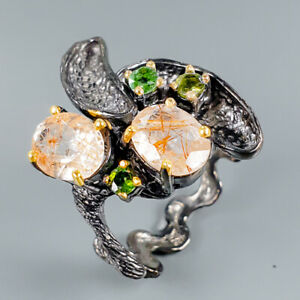 Vintage-Natural-Rutilated-Quartz-925-Sterling-Silver-Ring-Size-8-R101182