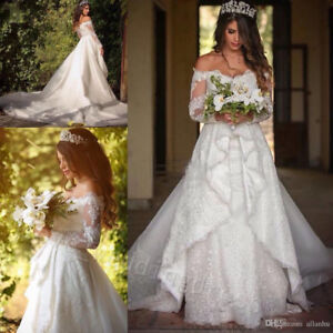 9a82b5cb82c2 Lace Vintage Wedding Dress Off Shoulder Long Sleeve Princess Bridal ...