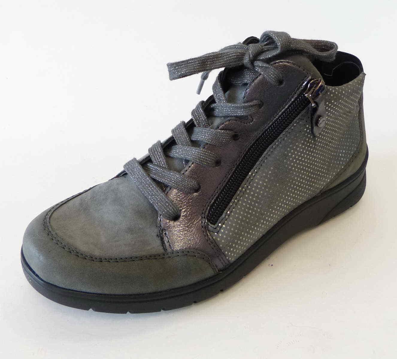 Ara cortos High Merano gris titanio cuero nobuck vastas h diseñada 41048 63