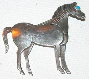 7. Old Native American Indian Sterling Silver & Turquoise Horse Pin Brooch