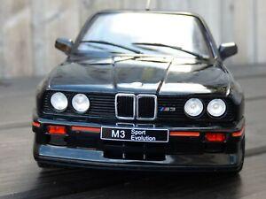 Rare 1:18 Black Diecast Detail BMW M3 E30 Sport Evolution 1990 Toy Model Car