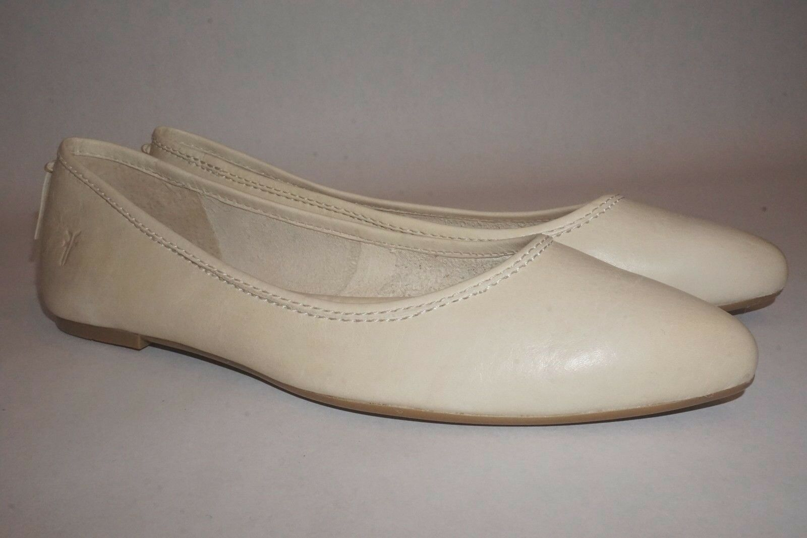 FRYE Regina Ballet Leder flat slip on pointed toe M sz 9 M toe Beige Bone 3274e1