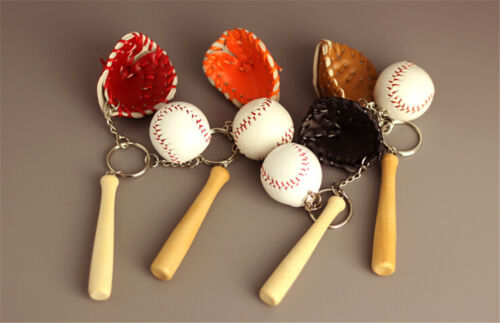 3pcs//set Mini Baseball Keychain Sports Souvenir Pendant Baseball Keyring Toys TS