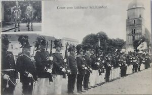 30868-AK-gruss-vom-Schuetzenfest-Luebben-im-Spreewald-mit-Kirche-um-1910