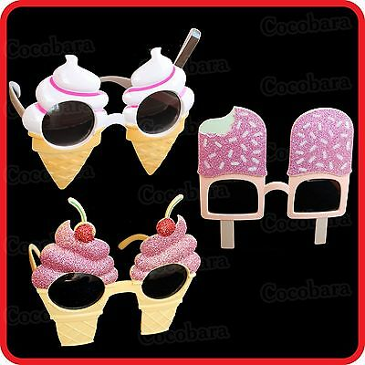 ICE CREAM CONE SOFT SERVE-ICE POP LOLLY ICY POLE BLOCK SUNGLASSES GLASSES-PARTY