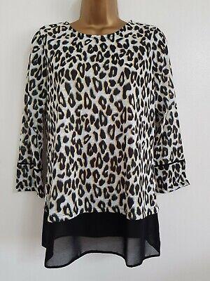 NEW RRP £22 Ex Dorothy Perkins Navy Leopard Print Top