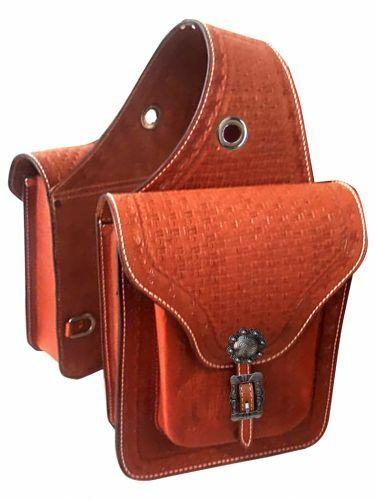 mostrareuomo BARBWIRE & Basket Weave strumentoed Leather SADDLE borsa Conchos 10 x 11 x 3