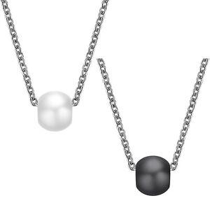 Damen-Herren-Edelstahl-Halskette-und-Anhaenger-Hightech-Keramik-weiss-schwarz
