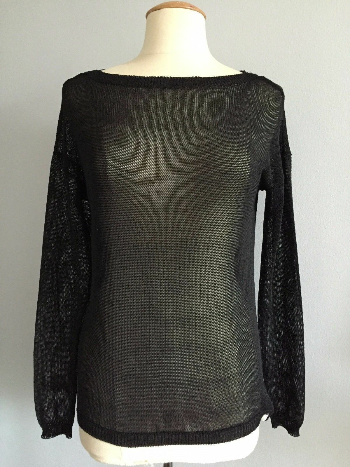 NWT  Ralph Lauren schwarz Label Sheer Knit Cotton Blend Hi Lo Hem Sweater S