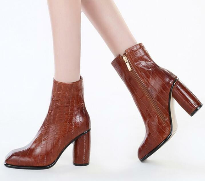 Women High Block Heels Ankle Boots Zip Pull On Bootie Leather Shoes Fashion Hot