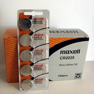 100 Original Maxell Cr2025 Cr 2025 Lithium 3v Battery New
