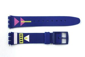 17mm-Men-039-s-Arrow-Pattern-Replacement-Blue-Watch-Band-Strap-fits-SWATCH-watches