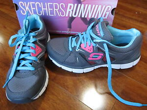 NEW Skechers Agility New Vision Training Shoes Womens 6.5 Grey Blue 11694/CCBL