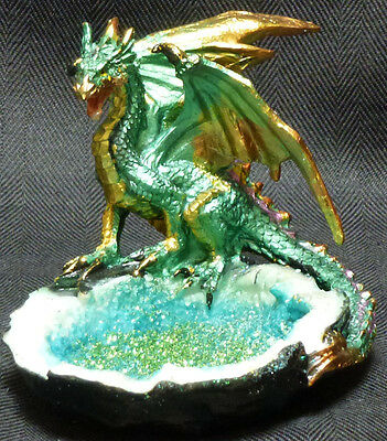"""GREEN CRYSTAL WATER DRAGON Perched Near Pond  H3.5'' x W3.75""""  Statue Figure"""