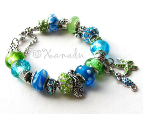 Seahorse And Starfish Green Turquoise Blue Ocean European Style Charm Bracelet