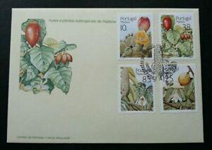 SJ-Portugal-Subtropical-Fruit-Plants-1992-Flower-Tree-Food-stamp-FDC