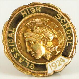 1924-10K-Oro-Amarillo-Clasico-Alta-Escuela-Providencia-Rhode-Island-Broche