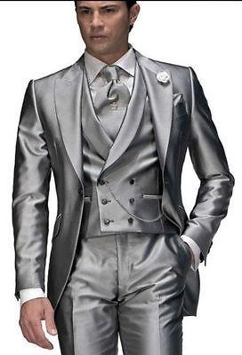 One Button Silvery Groom Tuxedos Best Man Peak Lapel Groomsmen Men Wedding Suit
