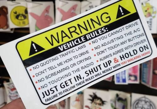 Funny Warning Label Vehicle Rules Humor Car Decal Vinyl Sticker LOL 4x4 V8 JDM