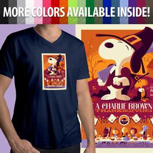 Charlie-Brown-Thanksgiving-Peanuts-Snoopy-Linus-Comics-Mens-Tee-V-Neck-T-Shirt