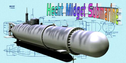 Build model boat 4 R/c German Hecht Midget Submarine full size Printed PLANS