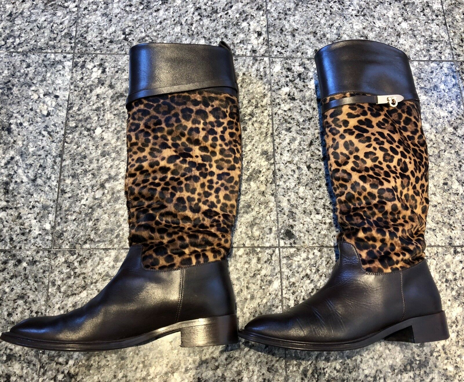 733bc6f34e0 Salvatore Salvatore Salvatore Ferragamo Brown Leather Leopard Tall ...