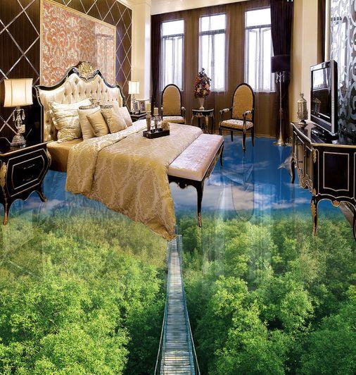 3D Blau Sky Forest Tree Floor WallPaper Murals Wall Print Decal 5D AJ WALLPAPER