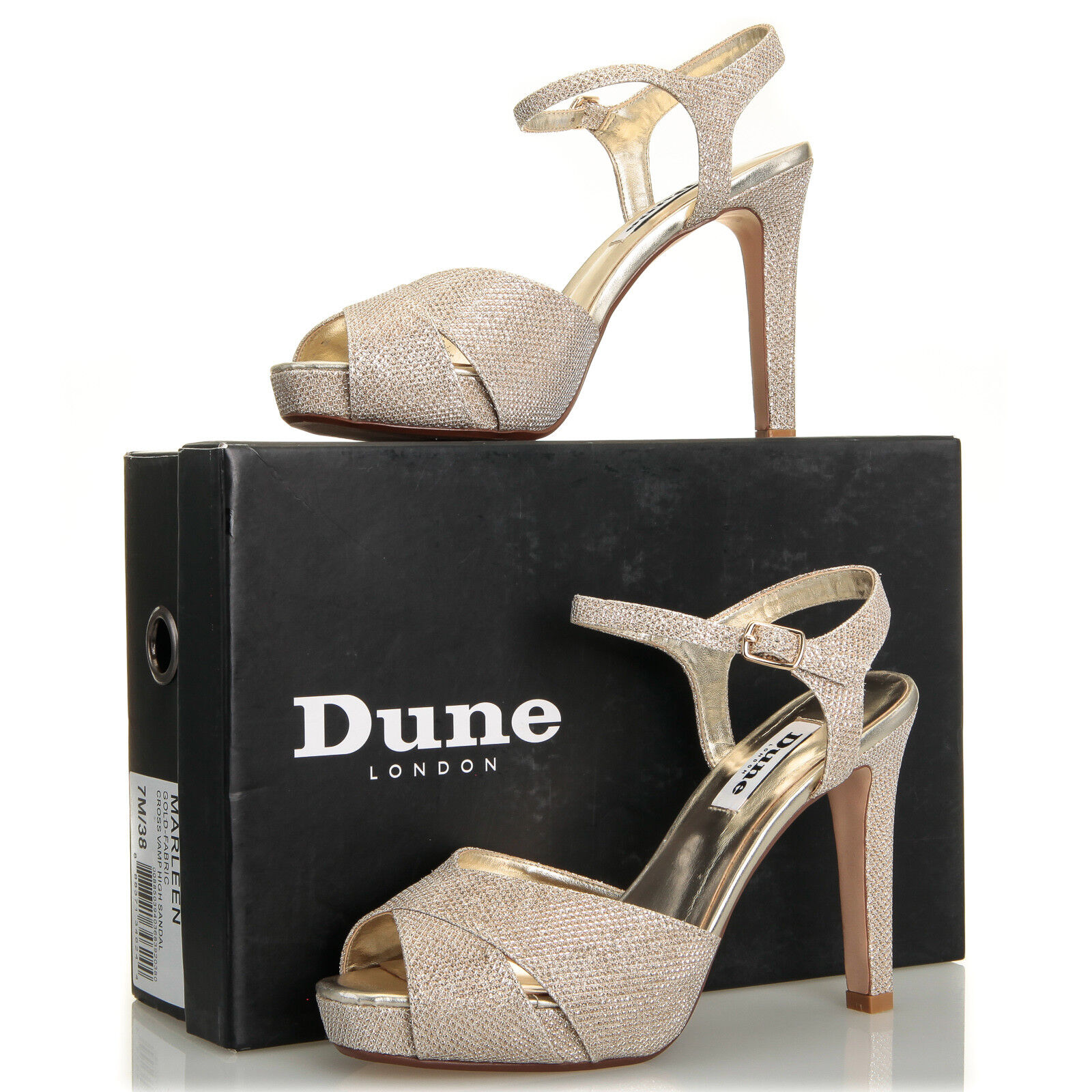 Dune London Marleen Crossover Strap Gold Heel Sandale - Größe 7 M (38 EU)
