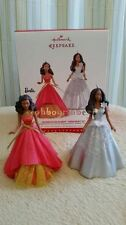 Hallmark 2015 Celebration Barbie 2013 2014 Christmas AA Ornament set of 2