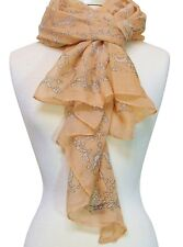 Swan Lake Printed Scarf in Peach with Swan, Cherub, Dove, Dog, Lamb & Flowers