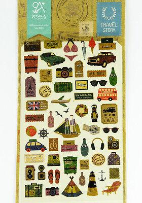 1 sheet Travel theme camera sailing Korean Craft scrapbooking filofax stickers