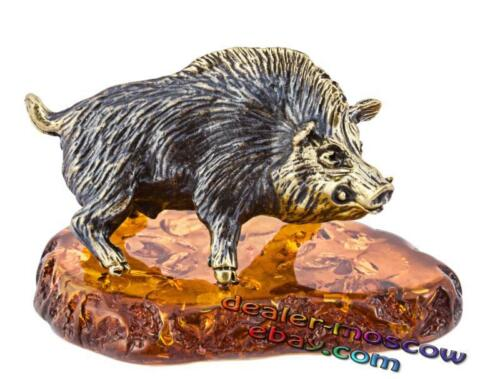 Bronze Solid Brass Baltic Amber Figurine Angry Boar IronWork 1344